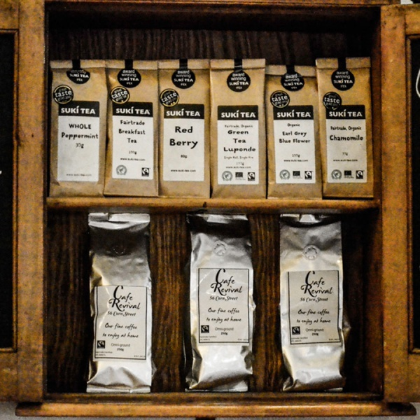 Our lovely loose leaf teas and coffee for you to take home...